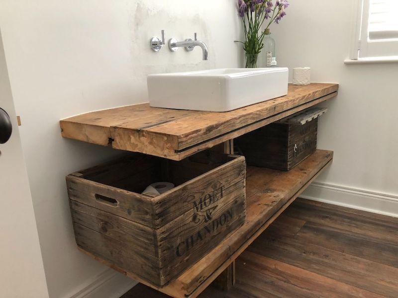 Feature Reclaimed Wood Bathroom Vanity Unit - GT Carpentry